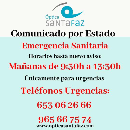 Comunicado-estado-emergencia-sanitaria-coronavirus-opticasantafaz.com-san-vicente-del-raspeig