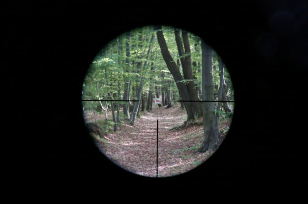 Kahles Helia5 1.6-8x42 4-Dot reticle at 1.6x magnification