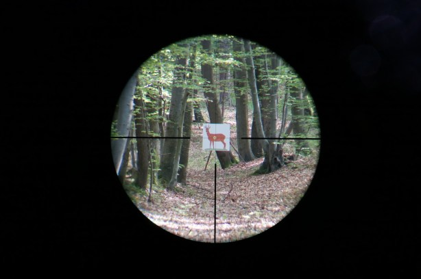 Kahles Helia5 1.6-8x42 4-Dot reticle at 6.0x magnification