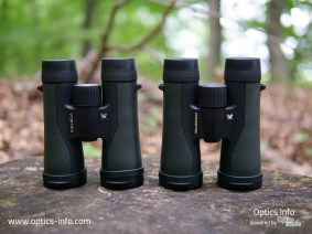 Vortex Crossfire binoculars, previous generation on the right, new generation on the left