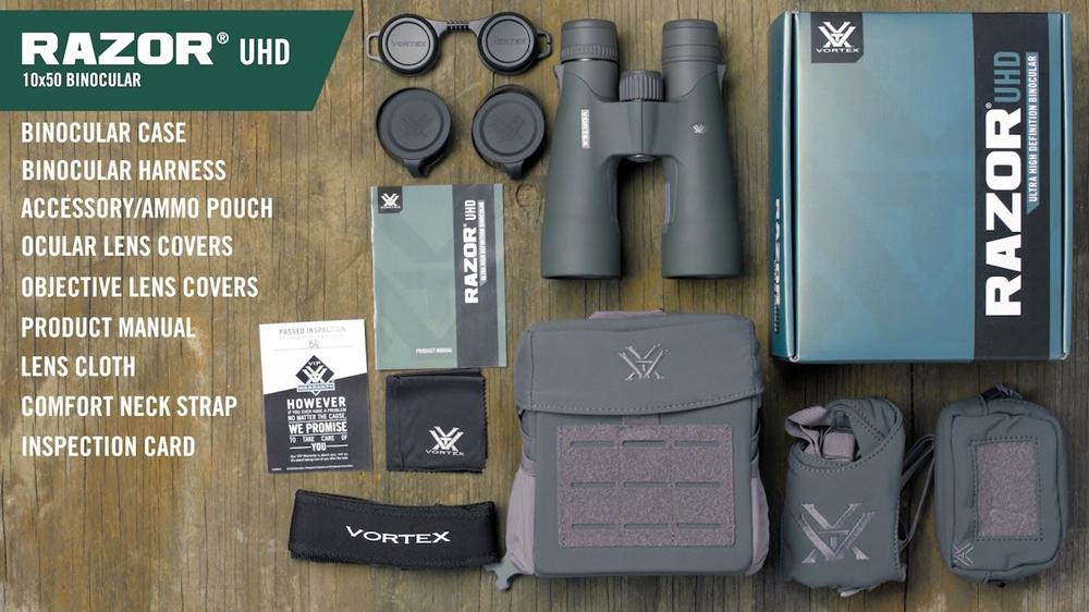 Vortex Razor UHD 10x50 Binoculars - in the Box (image: source Vortex Optics)