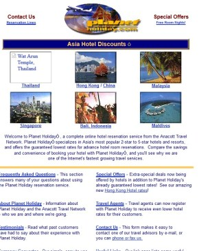 PlanetHoliday.com in 1998