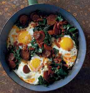 kale with chorizo and eggs