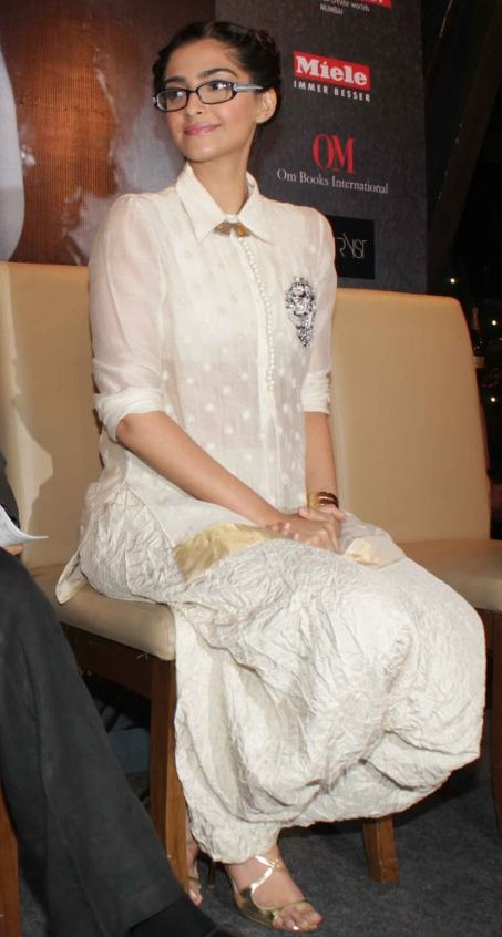 Sonam Kapoor in white Patiala suit