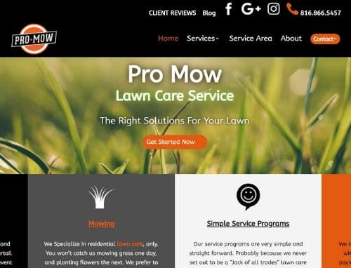 Pro Mow Lawn Care Website Homepage