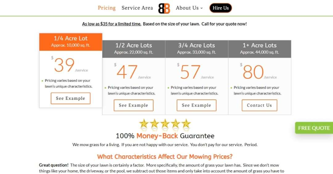 Lawn Care Pricing Page