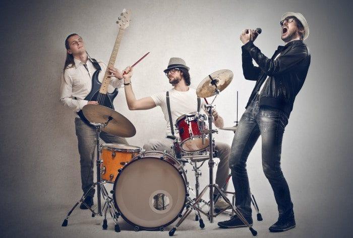 A rock band playing music
