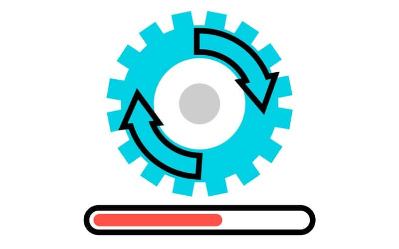 vector image of update wheel and loading bar