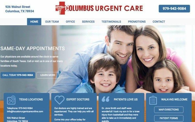 urgent care website design