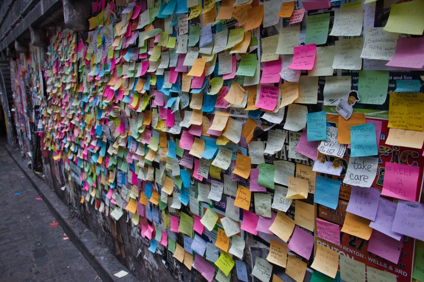 Post it Note wall in Seattle Washington