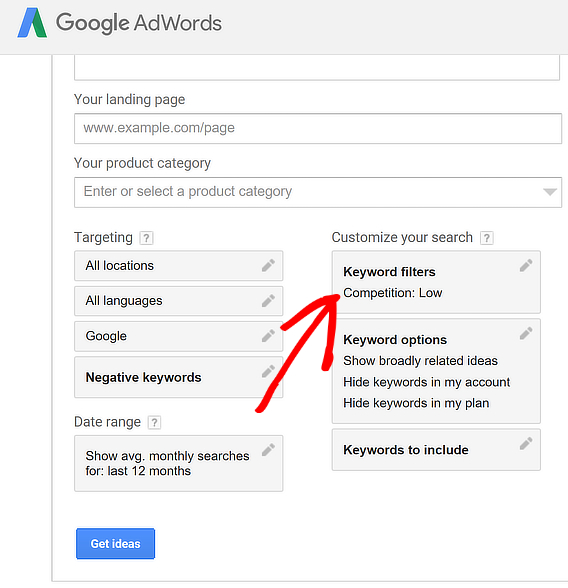adwords keyword research tools low competition