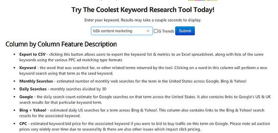 seobook keyword research tool feature descriptions