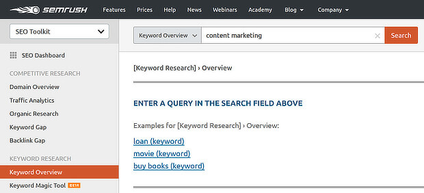 1 semrush keyword overview search