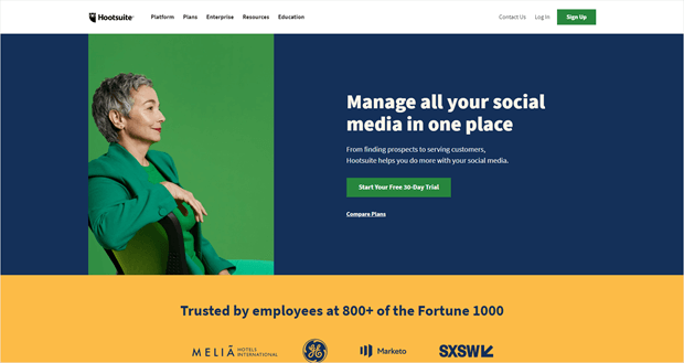 homepage di hootsuite