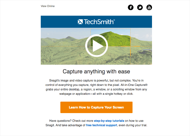 E-mail snagit com conteúdo de vídeo
