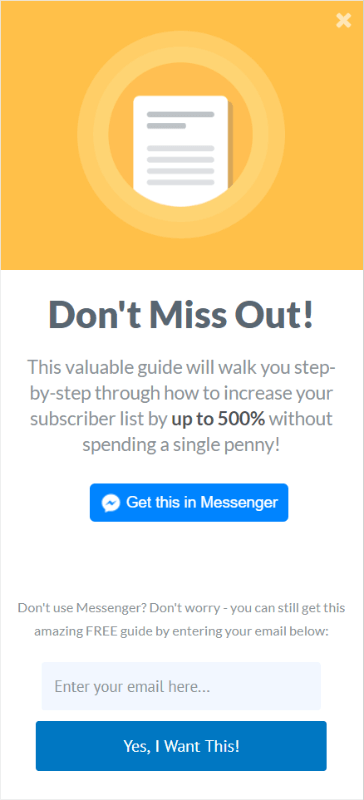 chatbot messenger optin integration manychat