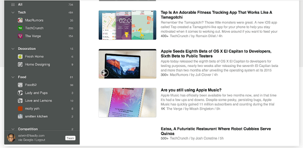 track competitor content with feedly