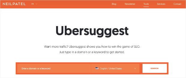 Ubersuggest homepage