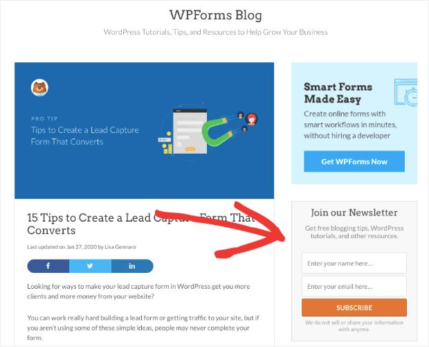 Modulo Optin barra laterale WPForm sulla home page del blog