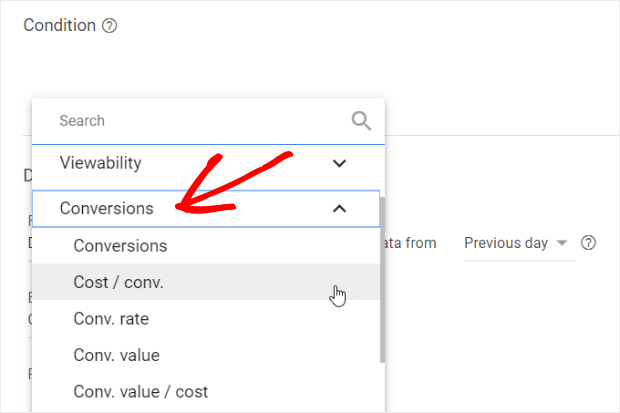 change keyword rules to target cost per conversion
