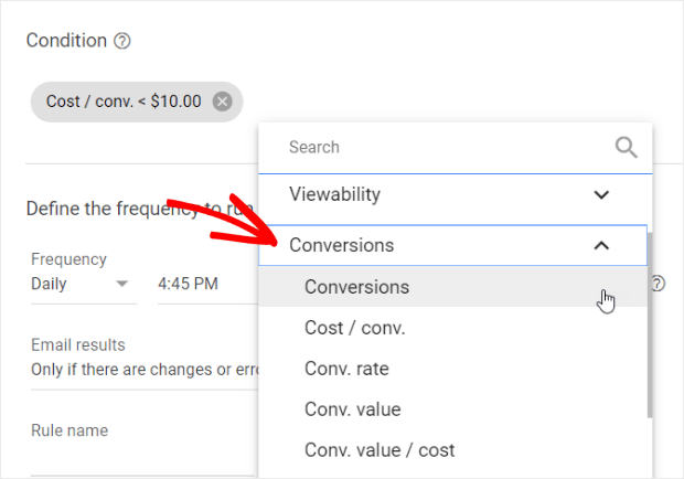 set conversions to less than $10