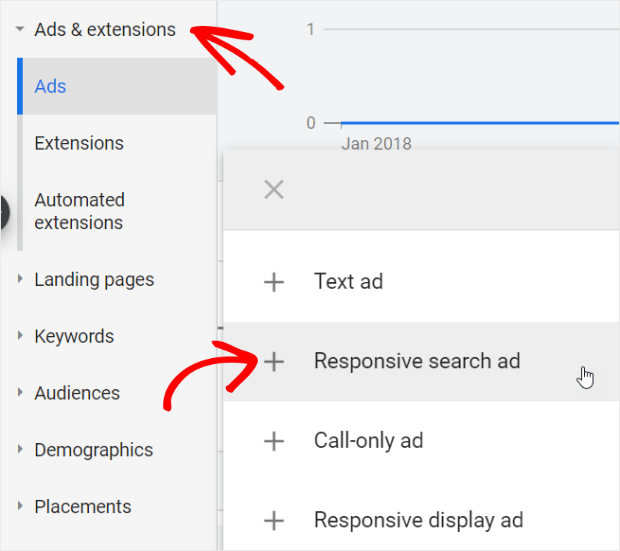 to create a responsive search ad go to ads & extensions and click responsive search ad