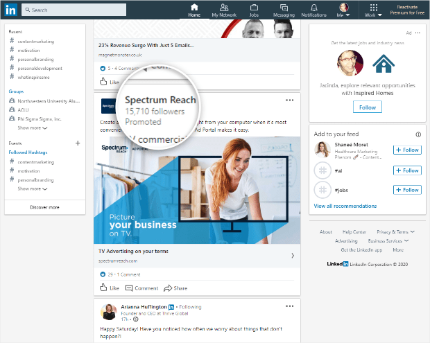 example of sponsored content on linkedin