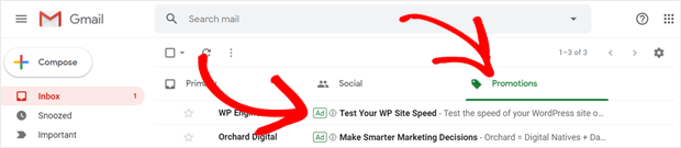 example of sponsored promotions in gmail