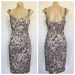 BLACK HALO Womens Beige All Over Print Sleeveless Dress Size 2 US (6 AUS)