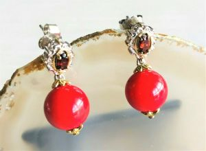 STERLING SILVER 925 NH And Gold Tone Ruby And Red Gemstone Drop Earrings