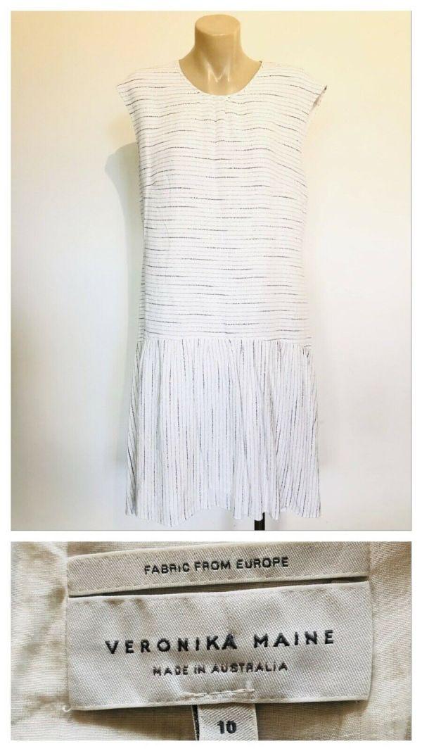 VERONIKA MAINE Womens White Striped Bottom Pleated Sleeveless Dress Size 10