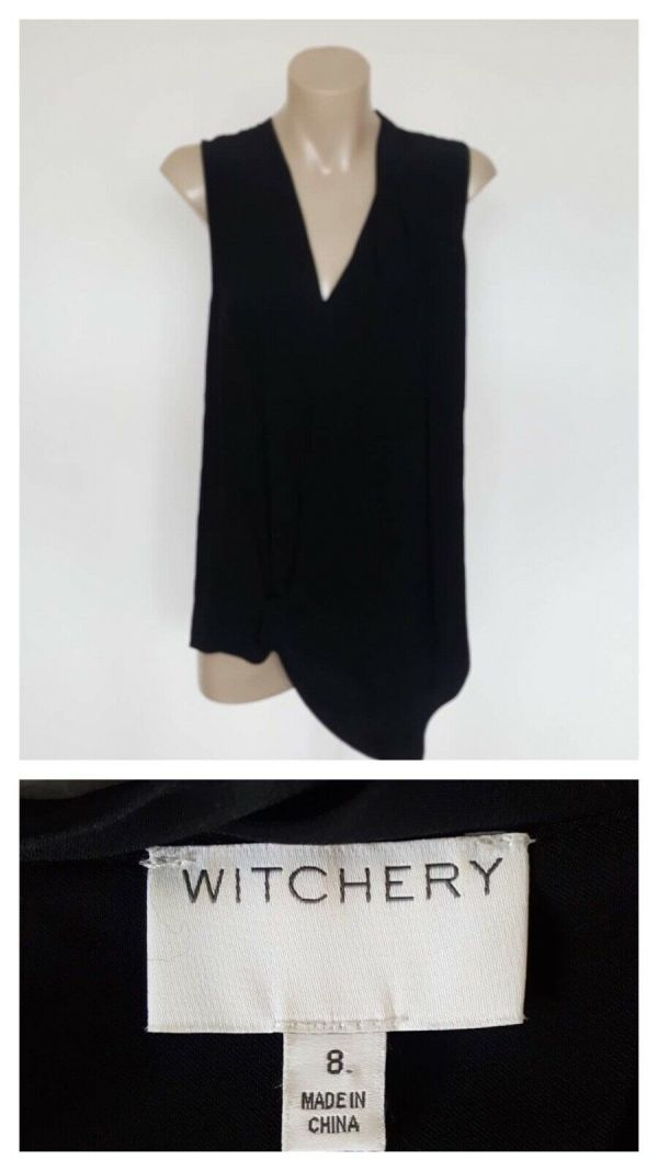 WITCHERY T Shirt Tops Sleeveless Ladies Black Asymmetrical Overlap Front Size 8