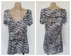 WITCHERY Ladies Multi-Colour Short Sleeve Pattern V Neck Top Size Extra Small XS