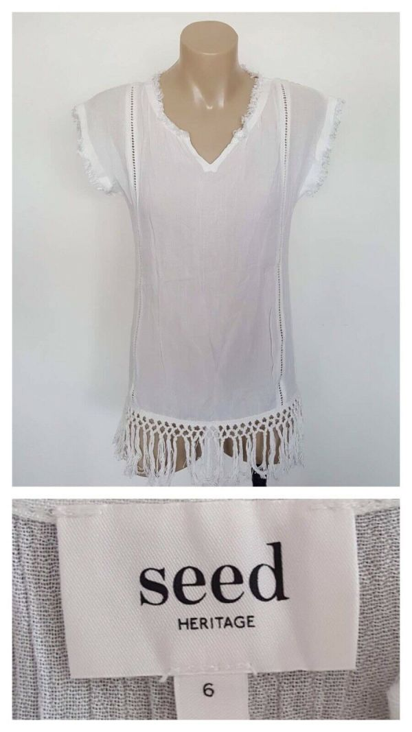 SEED HERITAGE Ladies White Boho Theme Fray & Knot Detail Cap Sleeve Top Size 6