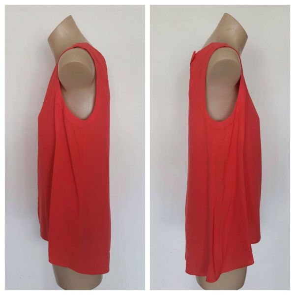 VERONIKA MAINE Ladies Coral Cut Out Sleeveless Top Size 8