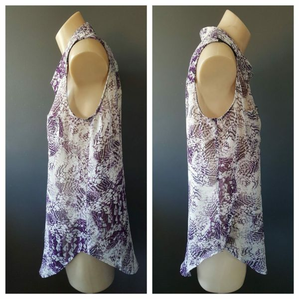 BETTINA LIANO Womens Purple Print Sleeveless Button Down Shirt Top Size 6