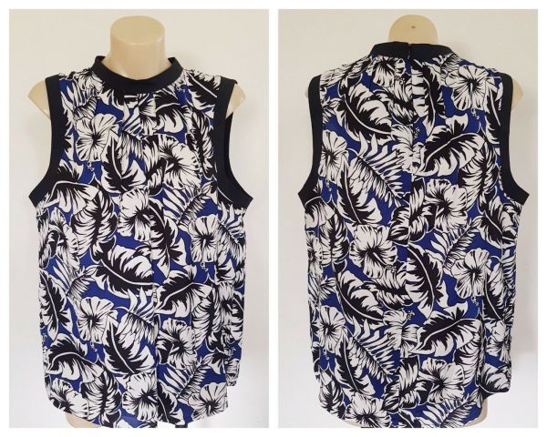 SHEIKE Womens Blue White & Black Floral Pleated Sleeveless Top Size 14 BNWT
