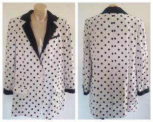 BEC & BRIDGE Womens Creme & Black Polka Dot Linen Jacket Blazer Size 12 BNWT