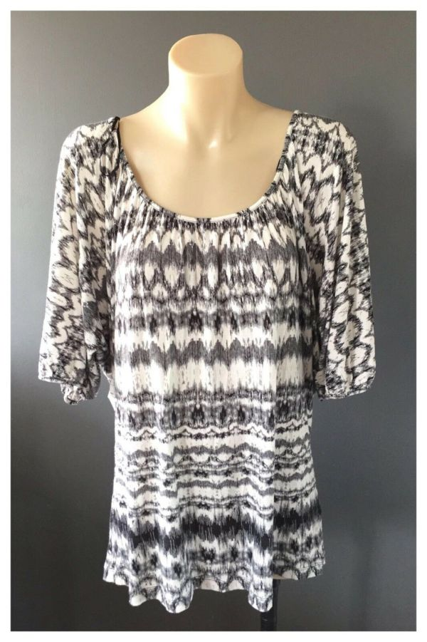 WITCHERY Ladies Long Sleeve Black And White Print Top Size Medium M