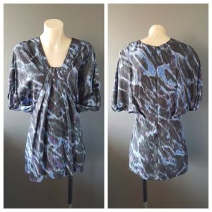 COUNTRY ROAD Womens 100% Silk Tie-Dye Effect Short Sleeve Top Size Extra Small