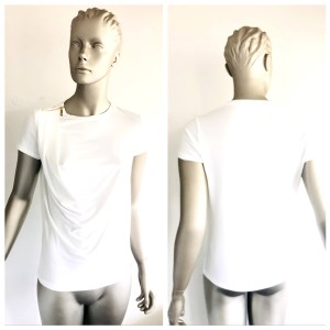 IVANKA TRUMP White Short Sleeve Top With Zip Detail