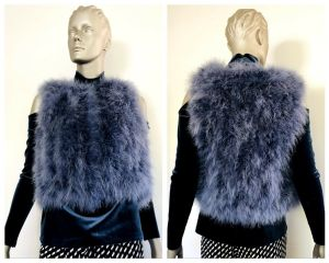 ALANNAH HILL Womens Blue Feather Vest Size Medium M