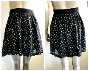 GORMAN Womens Black Skirt With Metallic Silver And Gold All Over Pattern Size 8