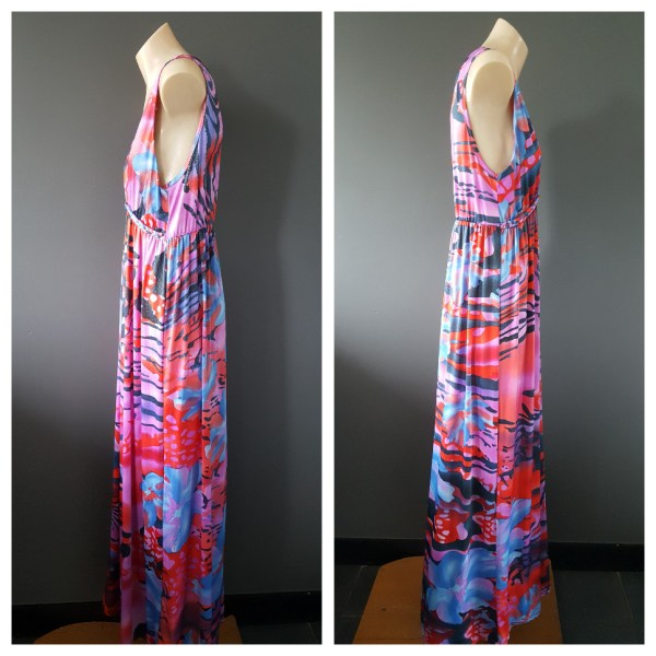 FILO Multi-Colour Tiger And Floral Print Long Party Dress Size Large L