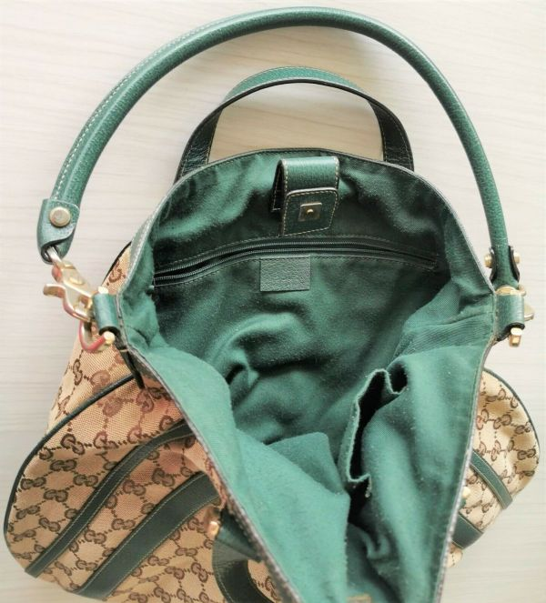 Authentic Monogram Large Green Leather Abbey Shoulder Bag Green Brown Canva