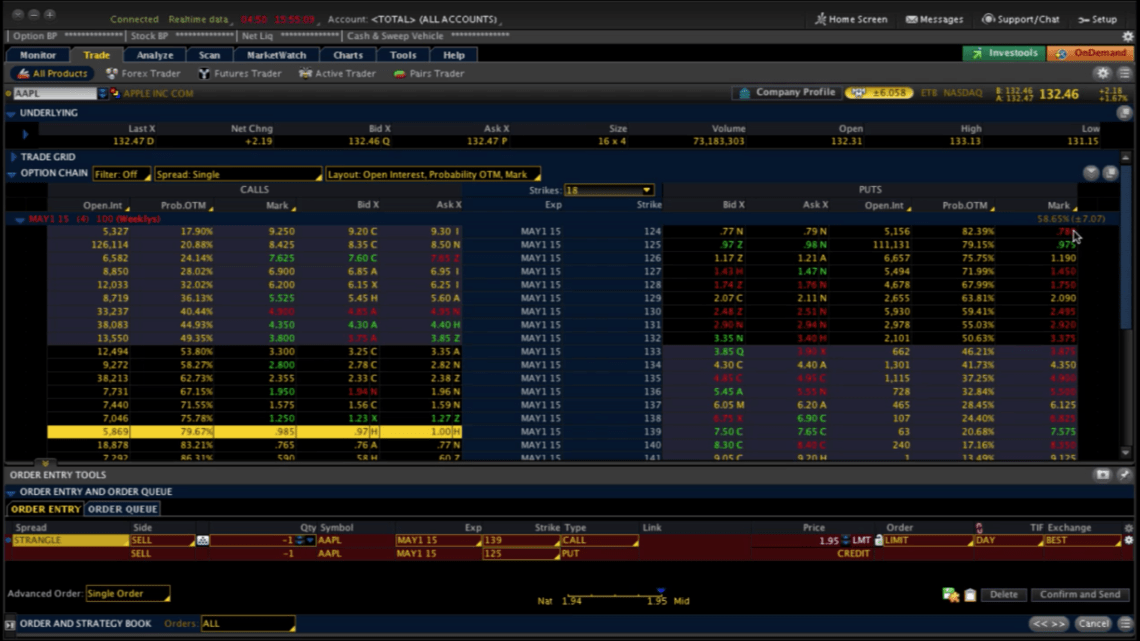 Trade options on earnings