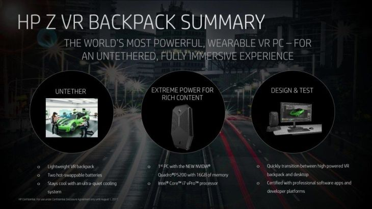 HP Z VR Backpack A wearable powerful portable PC for virtual reality