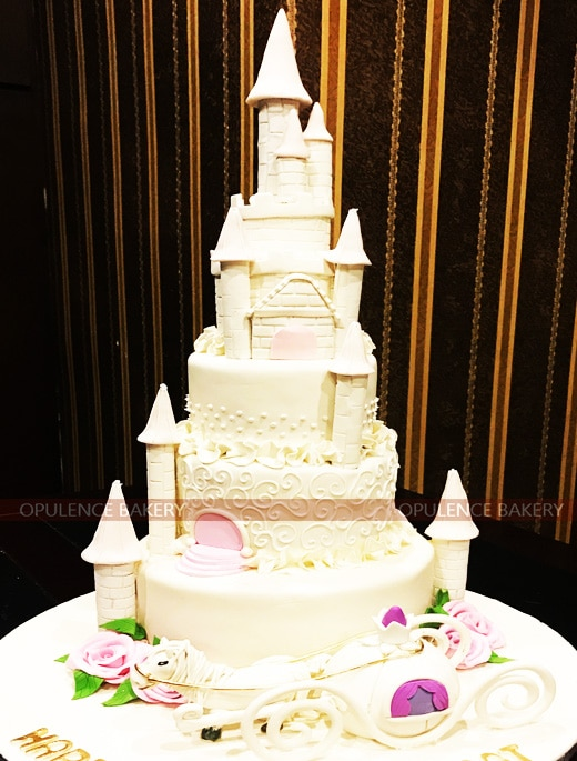5 Tier Big Castle Cake In White And Pink
