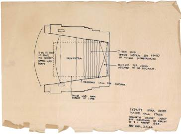 Sketch proposal by Peter Hall of the Major Hall stage, August 1966