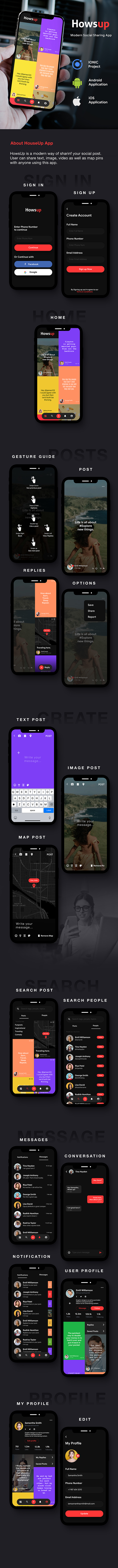 Howsup Social Android App Template + Social iOS App Template (HTML + CSS   IONIC 5) - 3